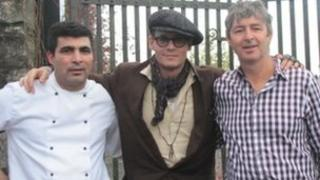 Chef Jonny Preda with Johnny Depp and owner Pat Weir