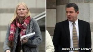 Cathy Watson and Robert Hills leaving court
