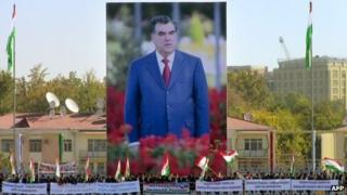 Giant billboards depicting President iEmomali Rakhmon in Dushanbe. Photo: 3 November 2013