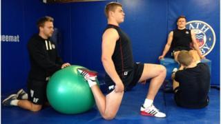 Bath Rugby players training