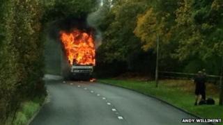 Truck fire in Wimborne