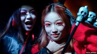 Hallowe'en revellers, Beijing (31 October 2013)
