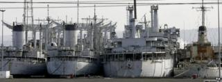 The US Naval Reserve vessels sit in a dry dock in Hartlepool