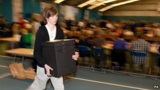 Ballot boxes are ran in during Sunderland election count at Sunderland tennis centre, Sunderland for the 2010 General Election