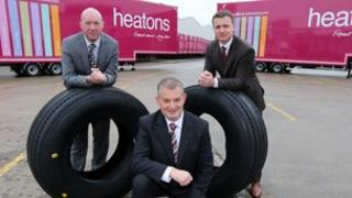 Sam O'Prey, Customer Service Centre Manager, HireCo, Enda Cushnahan, Commercial Director, SDC Trailers and Sean McErlean, Head of Distribution, Heatons (front)