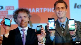 Lenovo executives showing off new phones