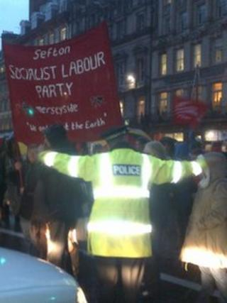 Protests at Liverpool Town Hall