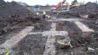 The demolition phase earlier this year at the Leith Fort site