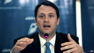 Jason Carter talks during a press conference for the Carter Center's election witnessing mission in Egypt, in Cairo, Egypt 19 June 2012
