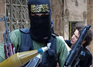 Unidentified masked Islamist fighters in Aleppo, Syria, 2 October