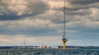 Image taken from location of the 99MW offshore demonstration wind site looking towards Blyth, Northumberland with Narec's offshore anemometry platform in the foreground