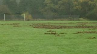 Wrecked football pitch