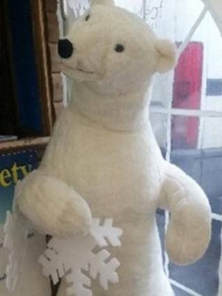 The polar bear statue from the Family Fun Factory in Weymouth