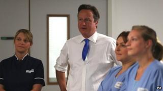 David Cameron visits a hospital