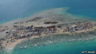 An aerial view of the devastation on Victory Island in the Philippines, days after Typhoon Haiyan passed through.