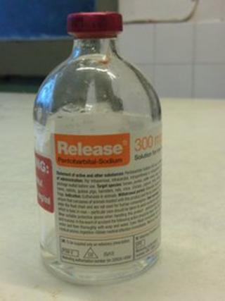 Police issued a photograph of the bottle containing the toxic drug