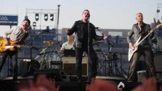 U2 on stage in Dublin