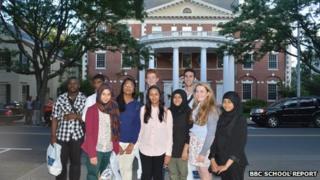 Students outside Yale University