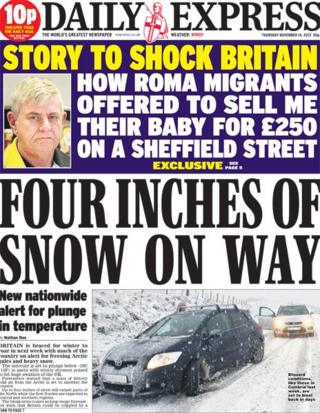 Daily Express front page, 14/11/13