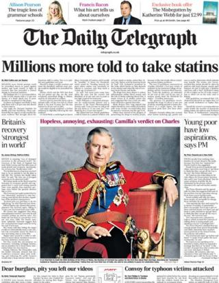 Daily Telegraph front page, 14/11/13