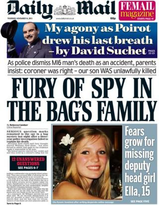 Daily Mail front page, 14/11/13