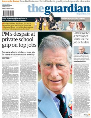 Guardian front page, 14/11/13