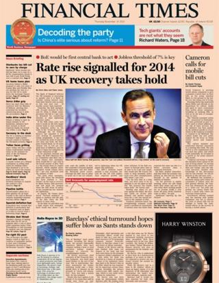Financial Times front page, 14/11/13
