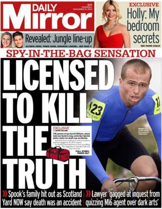 Daily Mirror front page, 14/11/13