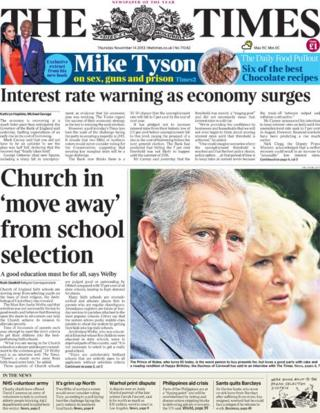 The Times front page, 14/11/13
