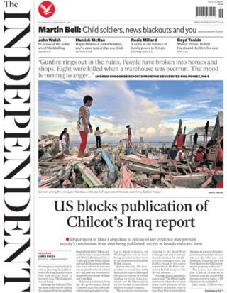 The Independent front page, 14/11/13