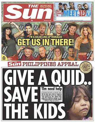 The Sun front page, 14/11/13