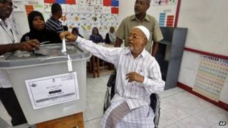 A man casts his vote in Male, Maldives