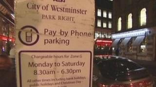 Parking notice in Westminster