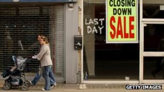 A picture of a local High Street's closing down signs