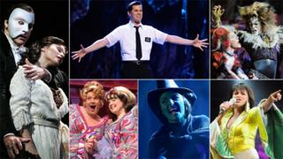 From left, clockwise: A scene from Phantom of the Opera, Book of Mormon, Cats, Mamma Mia, Wicked and Hairspray