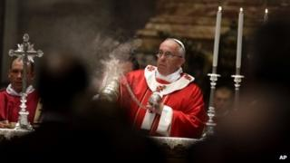 Pope Francis saying Mass