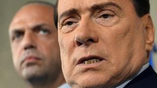 Silvio Berlusconi (right) and Angelino Alfano. 23 April 2013