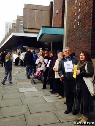 Protestors at the library in Barnsley