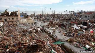 General view of devastation brought about by the recent super typhoon on November 16, 2013 in Tanauan, Leyte, Philippines
