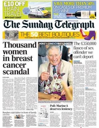 Sunday Telegraph front page 17/11/13