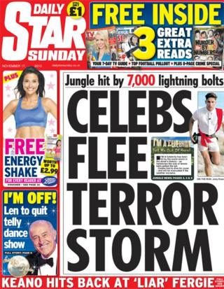 Daily Star Sunday front page 17/11/13