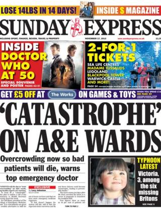 Sunday Express front page 17/11/13