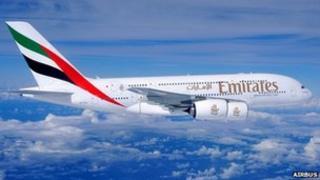 Emirates Airbus A380 in flight