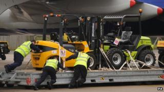 Vehicles being loaded on to the plane