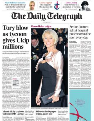 Daily Telegraph front page 18/11/13