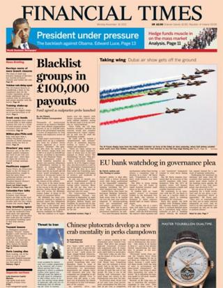 Financial Times front page 18/11/13