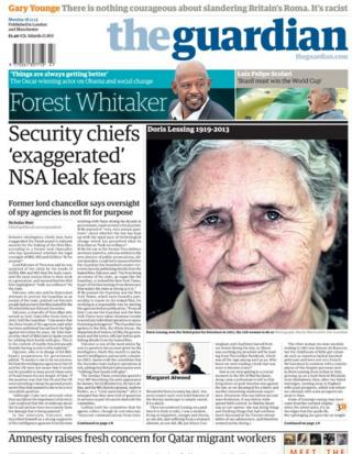 Guardian front page 18/11/13