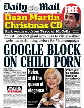 Daily Mail front page 18/11/13