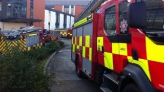 Fire engines outside Altnagelvin hospital, Derry