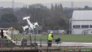 Plane crashing at Hawarden Airport